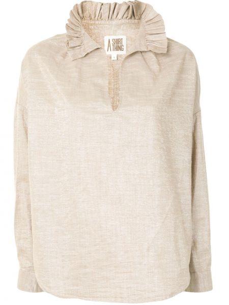 Блузка с длинным рукавом с люрексом с оборками с воротником с V-образным вырезом A Shirt Thing