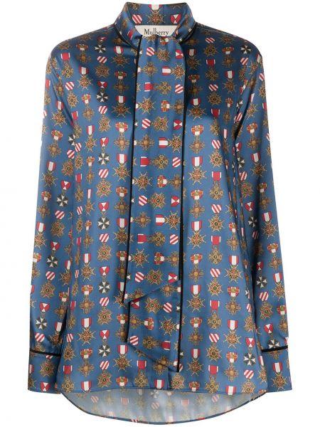 С рукавами синяя прямая блузка с длинным рукавом на пуговицах Mulberry
