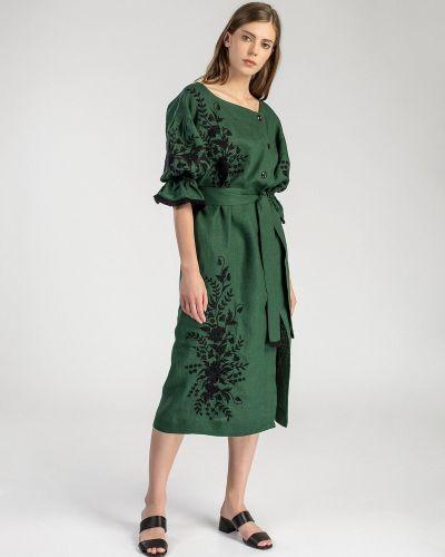 Этническое зеленое платье оверсайз Etnodim