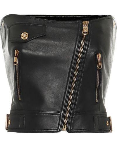 Кожаное черное бюстье Versace