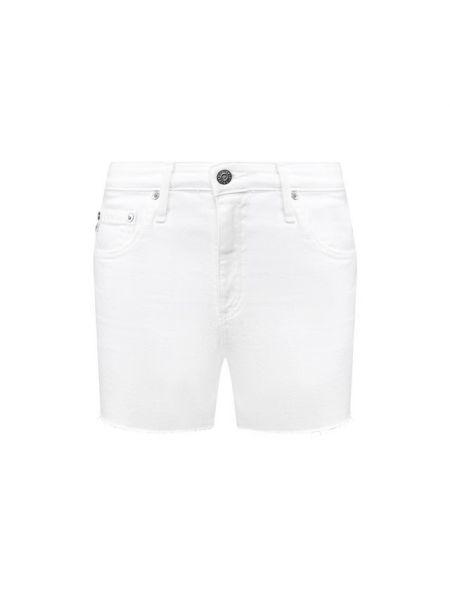 Хлопковые белые джинсовые шорты со стразами Ag