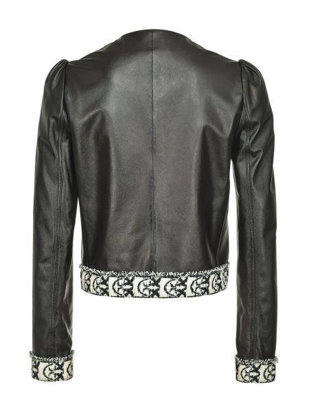 С рукавами черная кожаная куртка Pinko