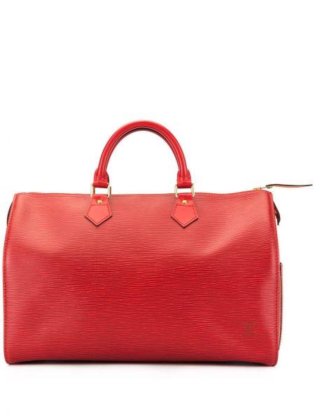 Красная кожаная сумка круглая на молнии с карманами Louis Vuitton