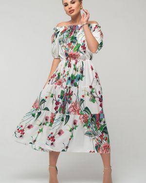 Нарядное с рукавами платье с открытыми плечами Петербургский Швейный Дом