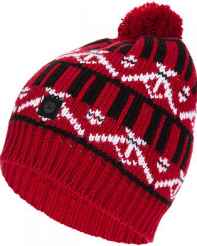 Красная вязаная спортивная шапка с помпоном Luhta