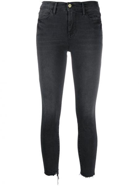 Хлопковые серые зауженные джинсы-скинни стрейч Frame