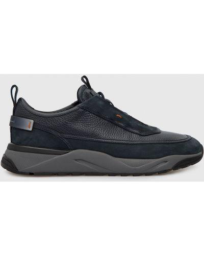 Кожаные кроссовки - бирюзовые Santoni