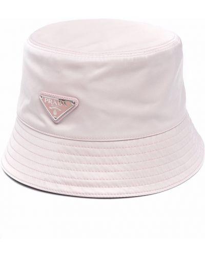 Różowy kapelusz bawełniany Prada