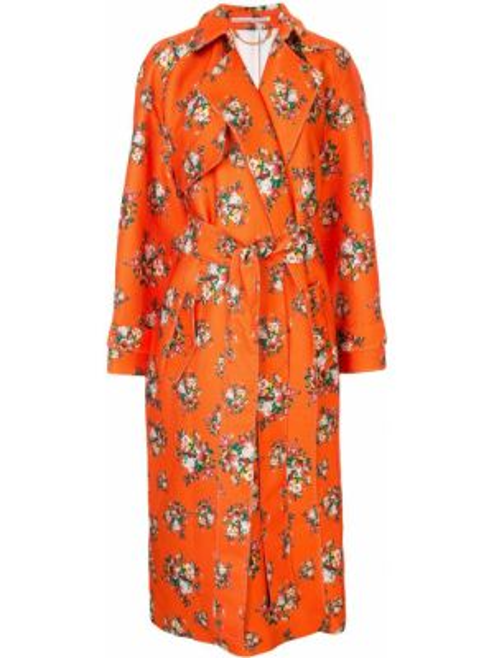 Płaszcz z jedwabiu z długimi rękawami z printem Emilia Wickstead