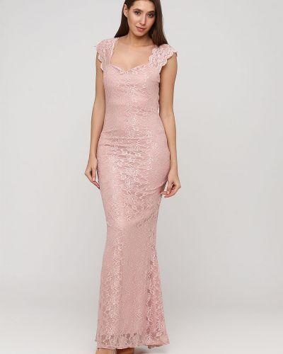 Светло-розовое ажурное платье макси с вырезом Goddiva