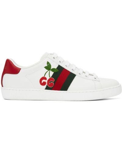 Czerwone sneakersy skorzane sznurowane Gucci