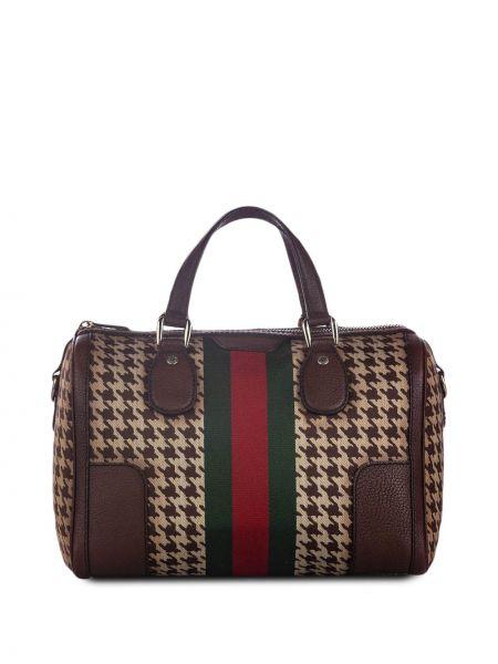 Коричневая сумка на плечо металлическая на молнии с декоративной отделкой Gucci Pre-owned