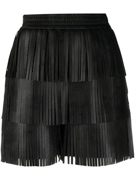 Черные с завышенной талией кожаные шорты Philosophy Di Lorenzo Serafini