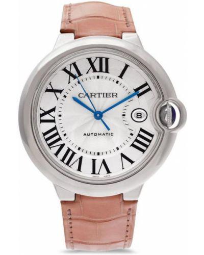 Кожаные часы на кожаном ремешке золотые круглые Cartier
