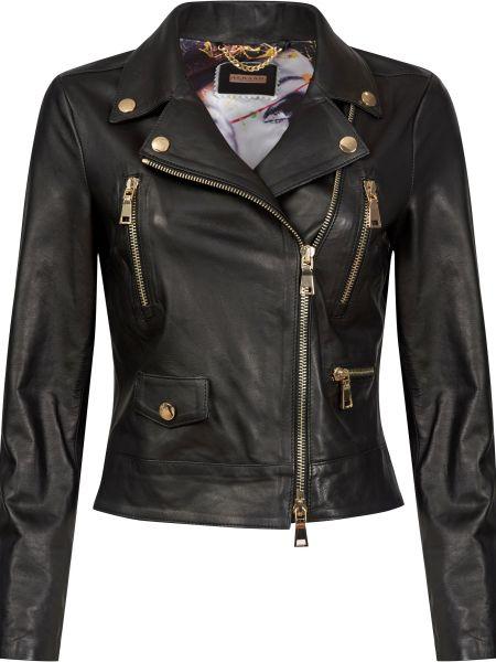 Черная кожаная куртка на молнии Albano