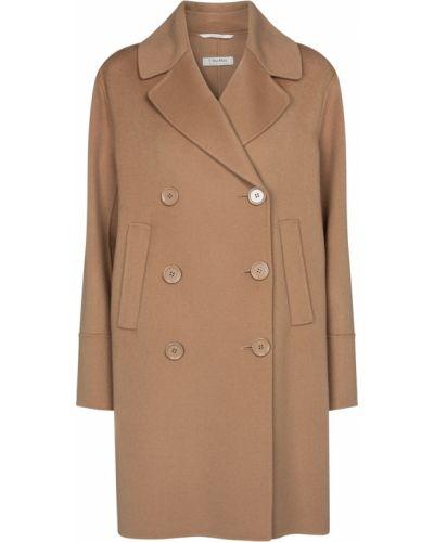 Коричневое шерстяное пальто двубортное 's Max Mara
