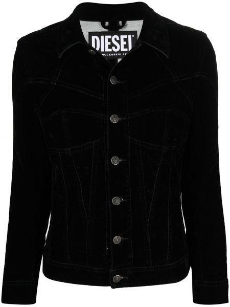 Бархатный черный удлиненный пиджак с воротником Diesel