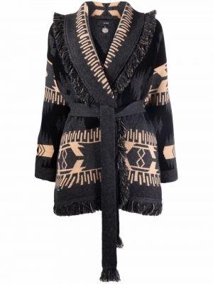 Черное кашемировое пальто Alanui