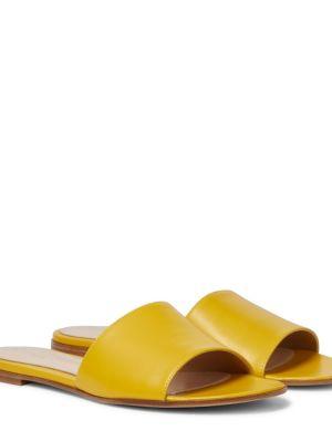 Żółty skórzany spodnie capri Gianvito Rossi