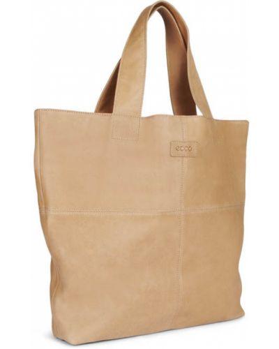 Кожаная сумка шоппер бежевый Ecco