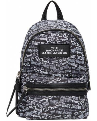 Z paskiem włókienniczy czarny plecak z łatami Marc Jacobs