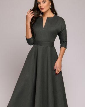 Платье с поясом с декольте на молнии 1001 Dress