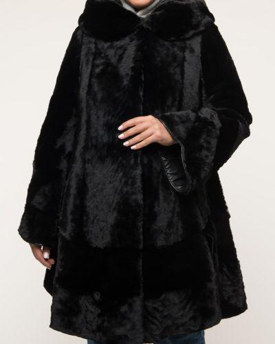 Черное пальто с капюшоном трапеция Aliance Fur
