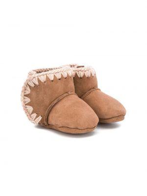 Коричневые зимние ботинки из овчины без застежки на плоской подошве Mou Kids