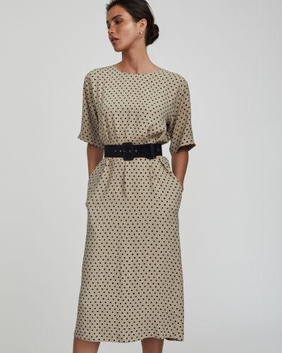 С рукавами платье миди в горошек с поясом Charuel