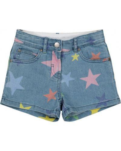 Ватные хлопковые синие джинсовые шорты Stella Mccartney Kids