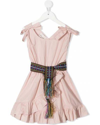 Розовое платье с запахом с вырезом Mariuccia Milano Kids