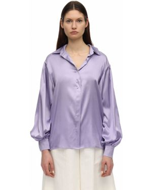 Сатиновая фиолетовая классическая рубашка с манжетами с воротником Lesyanebo