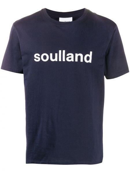 Прямая хлопковая синяя футболка в рубчик Soulland