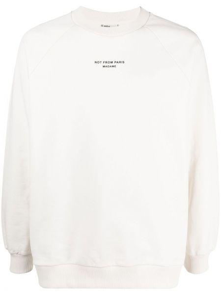 Biała bluza długa bawełniana z długimi rękawami Drole De Monsieur