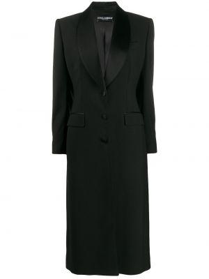 Czarny płaszcz wełniany z długimi rękawami Dolce And Gabbana