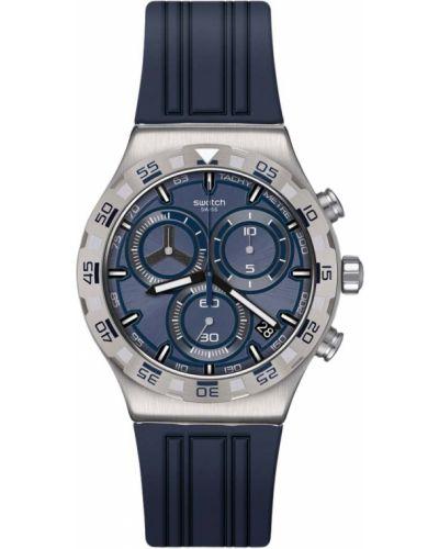 Повседневные синие силиконовые часы водонепроницаемые Swatch
