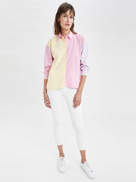 Розовая рубашка с длинными рукавами Defacto