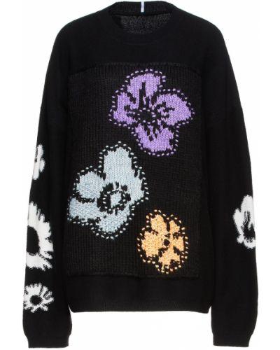 Кашемировая черная свитер с заплатками Mcq Alexander Mcqueen