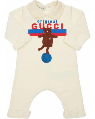 Bawełna bawełna biały sweter z niedźwiedziem z łatami Gucci