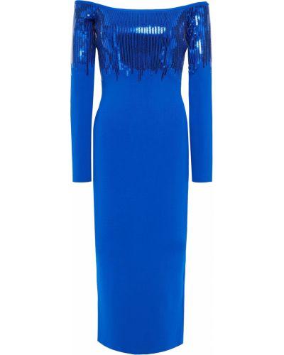 Платье миди с пайетками - синее David Koma