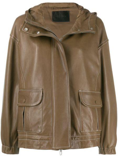 С рукавами коричневая кожаная длинная куртка Drome