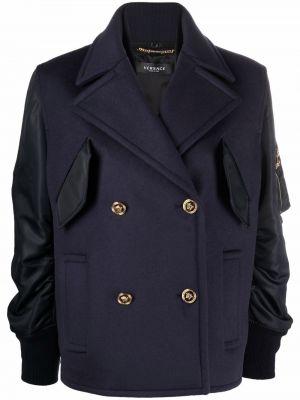 Синее пальто с карманами Versace