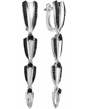Золотые серьги с бриллиантом вечерние Vesna Jewelry