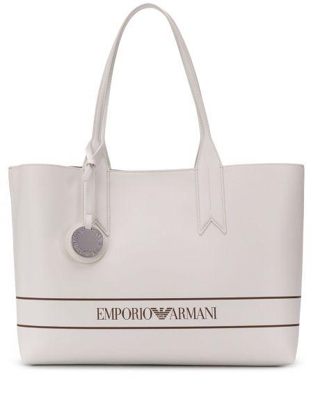 Кожаная сумка шоппер с леопардовым принтом Emporio Armani