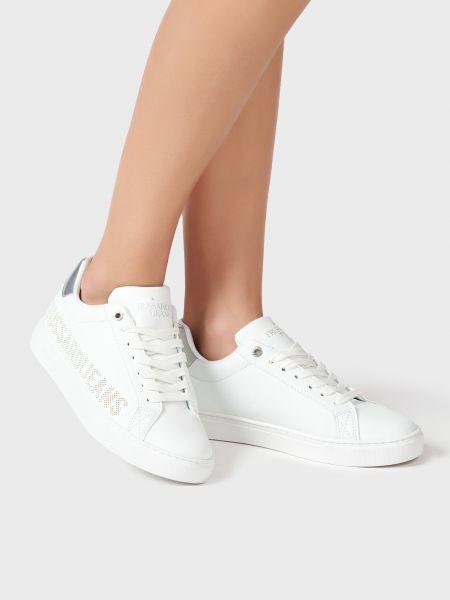 Повседневные кожаные белые кеды Trussardi Jeans