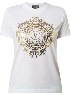 Biały koszula jeansowa bawełniany Versace Jeans Couture