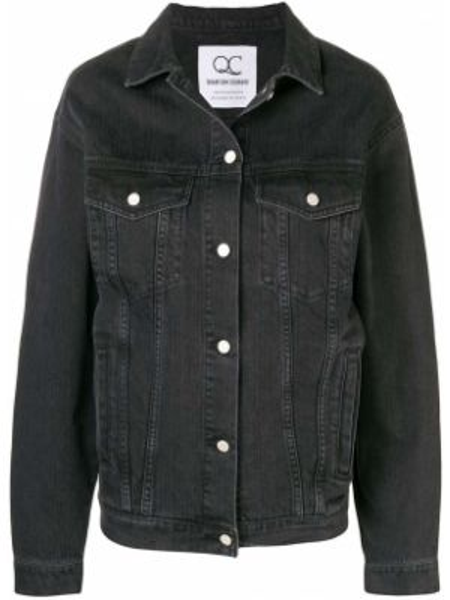 Классическая черная джинсовая куртка с манжетами с вышивкой Quantum Courage