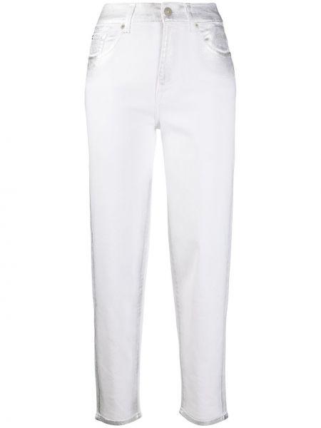 Прямые белые укороченные джинсы с высокой посадкой 7 For All Mankind