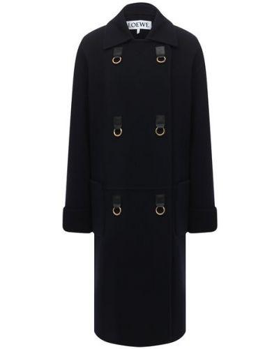 Синее шерстяное пальто Loewe