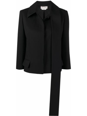 Шелковый однобортный черный классический пиджак Alexander Mcqueen